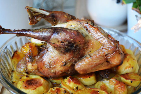 Roasted pheasants with crispy root vegetables