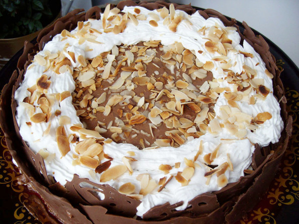 Cake with chocolate mousse and nuts